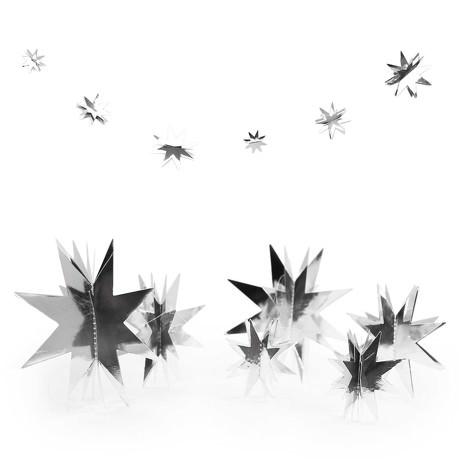 Deckenhänger Girlande 3D Sterne Weihnachten Deko Weihnachtsdeko - silber