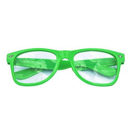 Nerdbrille Hornbrille 80s Retro Nerd Streber Brille - grün