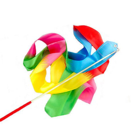 Gymnastikband mit Stab Wirbelband Schwungband Regenbogenfarben