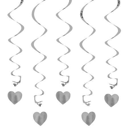 5 Girlande Spiral Deckenhänger mit Herz - silber