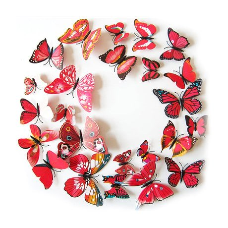 3D Schmetterlinge 12er Set Wandtattoo Wandsticker Wanddeko - rot-pink