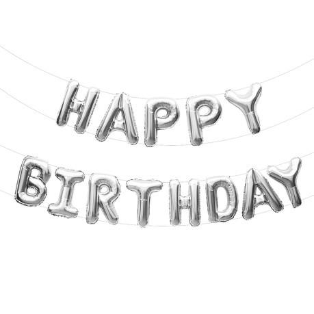 Happy Birthday Folienballon Girlande in Silber Geburtstag Party Deko