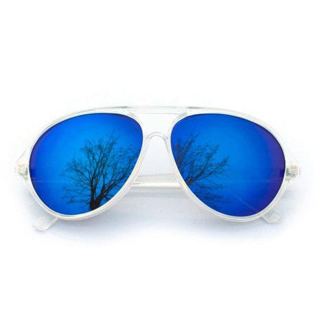Pilotenbrille Sonnenbrille Herren Damen Flieger transparent blau