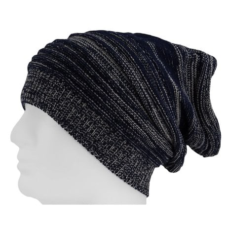 Long Beanie Mütze XXL Damen Herren Kinder Winter Mütze -darkblue-white