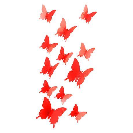 3D Schmetterlinge 12er Set Wandtattoo Wandsticker Wanddeko - rot