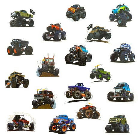 Temporäre Klebetattoos Kinder Tattoo Set 36 Stk - Monster Truck