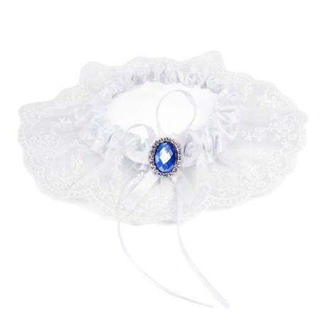 Strumpfband mit Schleife Hochzeit JGA Junggesellinnenabschied - weiß