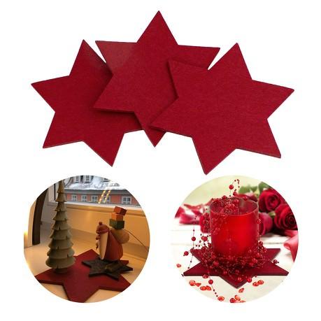 4 Filz Untersetzer Sterne Glasuntersetzer Weihnachtsdeko Ø 15cm - rot