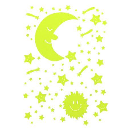 Leuchtsterne Sticker Set Mond Sonne Selbstleuchtend Wandsticker