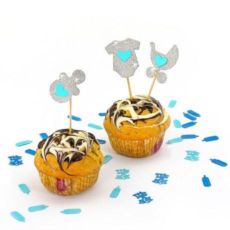 3 Topper Holzsticker Baby Shower Junge Kuchen Cupcake Deko Aufsatz