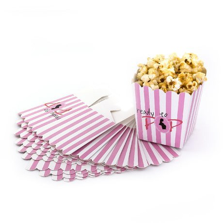 8 Popcorn Schachtel Tüte Box Schwangerschaft Baby Shower - rosa