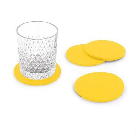 4 Filz Untersetzer Glasuntersetzer rund - gelb