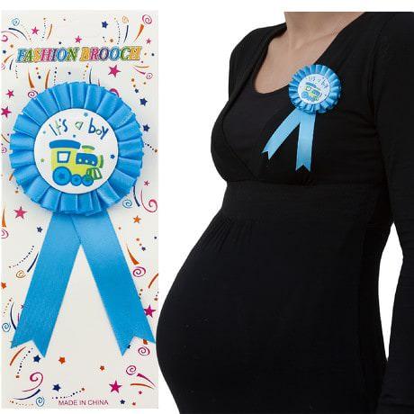 Brosche Abzeichen Schwangerschaft Mama Baby Shower its a boy - blau