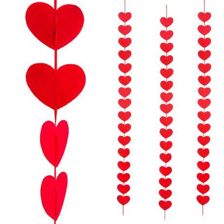 3 Deckenhänger Herz Girlande Hochzeit- rot