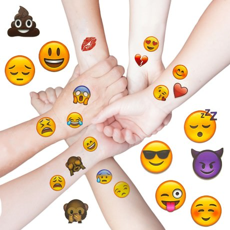Emoji 48 Stück Temporäre Tattoos Aufkleber Emoticons Smiley