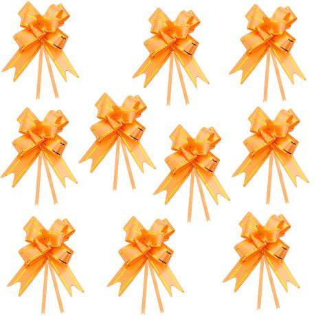 10 Geschenkschleifen mit Geschenkbändern Deko Schleifen - orange