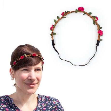 Blumen Haarband Stirnband Haarschmuck Bohemia Kopfschmuck - rot