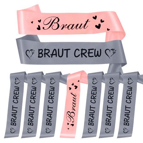 Schärpe Braut + Braut Crew Set JGA Hen Party Herzen rosa grau