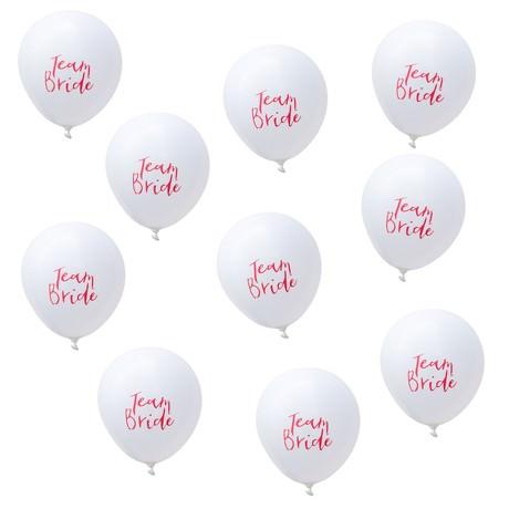 10x Luftballons Team Bride JGA Junggesellinnenabschied Deko - weiß