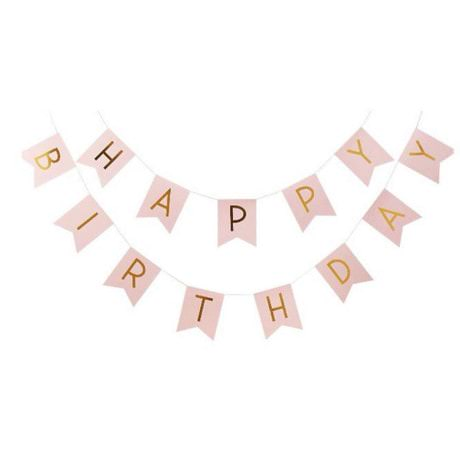 Happy Birthday Girlande Banner Geburtstag Party Feier Deko - rosa-gold