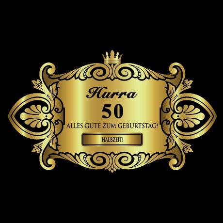 Flaschenetikett Aufkleber gold elegant Geburtstag - Hurra 50