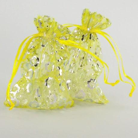 Organzasäckchen Organzabeutel Schmuckbeutel Säckchen gelb Blumen