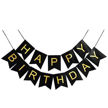 Happy Birthday Girlande Banner Geburtstag Party - schwarz-gold