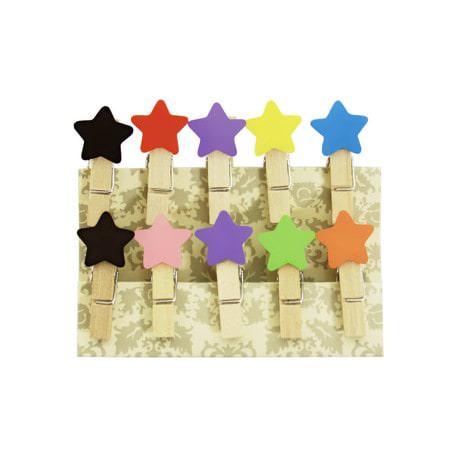 10 Mini Wäscheklammern Holz Miniklammern Deko Klammern - bunte Sterne