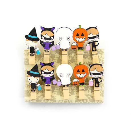 10 Mini Wäscheklammern Holz Miniklammern Deko Klammern - Halloween 2