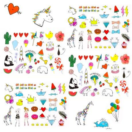 120 Temporäre Klebetattoos Kinder Tattoo Set - verschiedene Motive