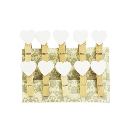 10 Mini Wäscheklammern Holz Miniklammern Deko Klammern - weisse Herzen