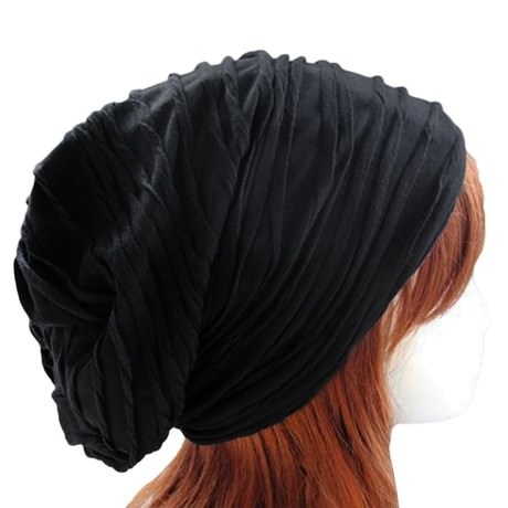 Long Beanie Jersey Mütze Slouch XXL Mützen - wrinkled schwarz
