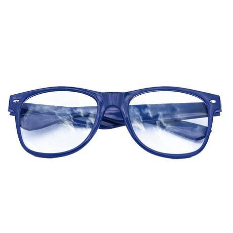 Nerdbrille Hornbrille 80s Retro Nerd Streber Brille - blau
