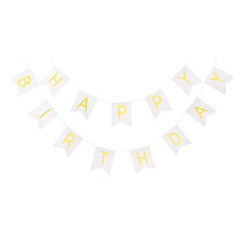 Happy Birthday Girlande Banner Geburtstag Party - weiß-gold