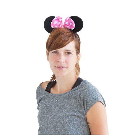 Haarreif Haarreifen Maus Mouse Ohren Schleife Fasching Karneval - rosa