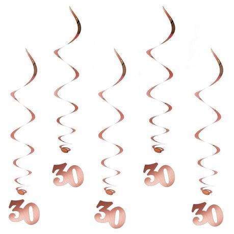 5 Spiral Wirbel Deckenhänger Girlanden 30. Geburtstag Jubiläum Hänge Deko - roségold