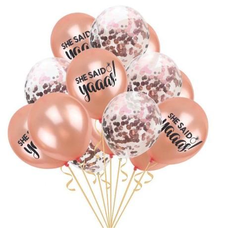 She Said Yaaaas! Konfetti Luftballon Set 15 Stk JGA Hochzeit rosa