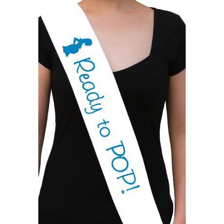 Schärpe Ready to POP! Baby Party Shower Schwangerschaft - blau