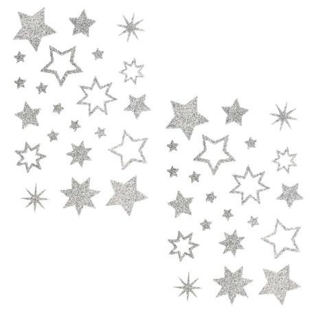 44 Glitzernde Funkelnde Sterne Sticker Aufkleber Weihnachtssterne Weihnachtsdeko - silber