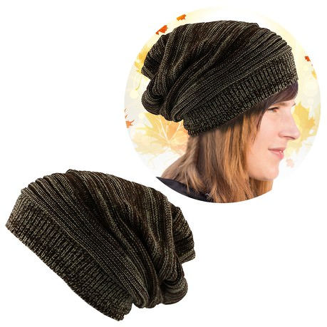 Long Beanie Mütze XXL Damen Herren Kinder Winter Mütze - browned-white