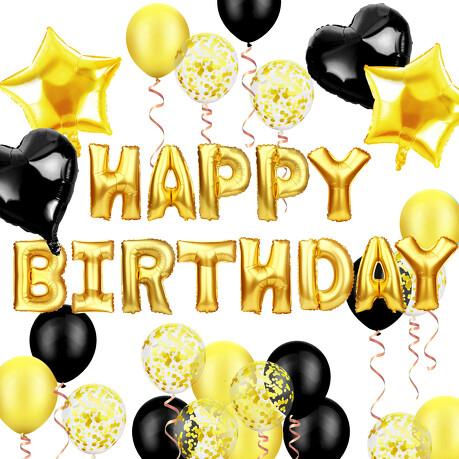 geburtstag party deko set - happy birthday  herzen folien luftballons konfetti ballons schwarz gold