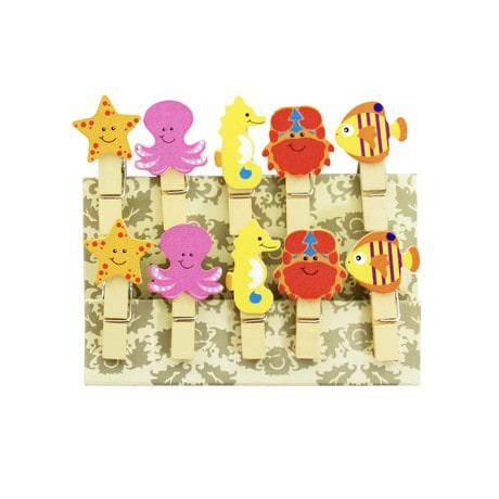 10 Mini Wäscheklammern Holz Miniklammern Deko Klammern - Meerestiere