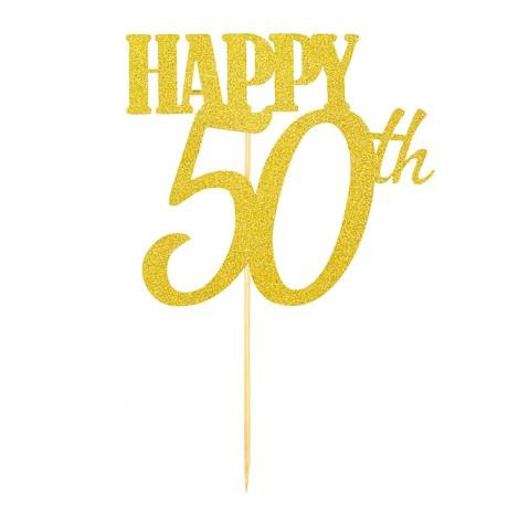 Torten Topper Kuchen Muffin Aufsatz Happy 50th Geburtstag Jubliäum Deko