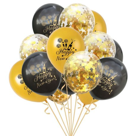 Konfetti Luftballon Set Happy New Year Silvester Neujahr 15 Stk. gold schwarz