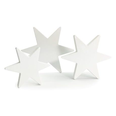 3 Holz Sterne Mix weiß Holzdeko Weihnachtsdeko Tischdeko - Echtholz