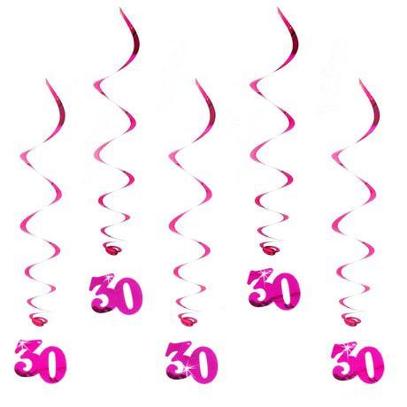 5 Wirbel Deckenhänger 30. Geburtstag mit Bändern und Ösen - pink