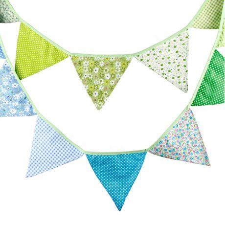 Wimpel Girlande Wimpelkette Banner Vintage - grün