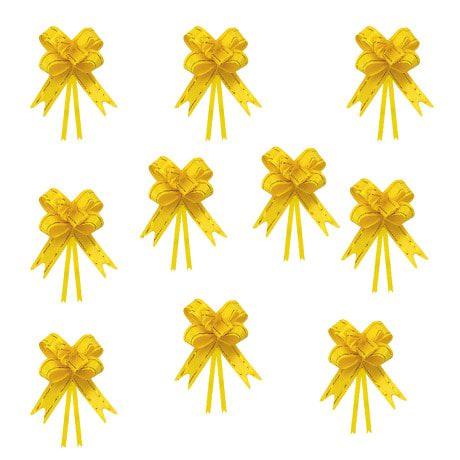 10 Geschenkschleifen mit Geschenkbändern Deko Schleifen - gelb