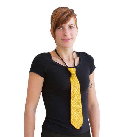 Krawatte Schlips Pailletten Glitzer - gold