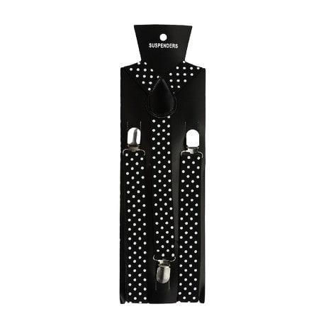 Hosenträger Unisex verstellbar Y -Form - schwarz - weiß gepunktet